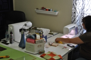 The new sewing tables and cutting board